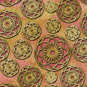 Pink and Fake Gold Filigree Buttons