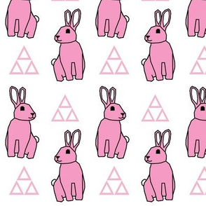 Bunny Rabbit >> Spring Easter Baby Kids Geometric Illustration Woodland >> Pink and White Pastel