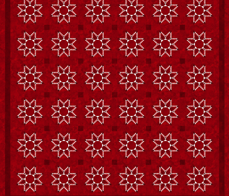 Cheater Quilt Feathered Star Block 11in Red White