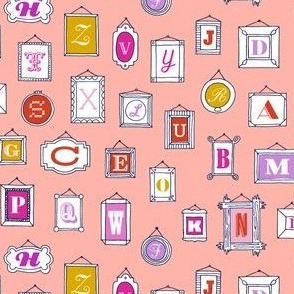 Hall of Letters* (Peach Halves) || typography gallery wall art picture frame alphabet abc illustration museum
