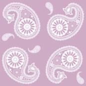 Paisley Block Print White on Lilac