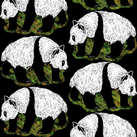 Scratchboard Pandas 2 fabric by eclectic_house on Spoonflower - custom fabric