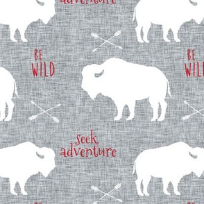 Buffalo on Grey Linen with Red Be Wild & Seek Adventuren