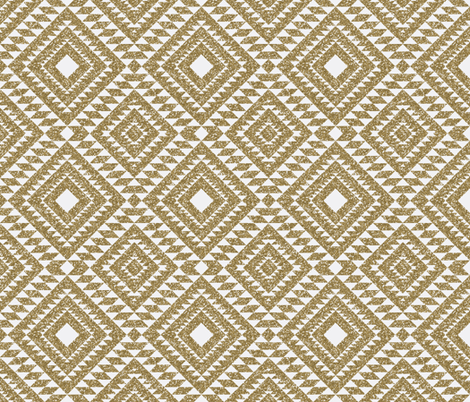 Glitter Aztec // White  fabric by graceandcruzdesigns on Spoonflower - custom fabric