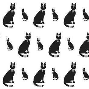 Block Print - Regal Cat (black variant)
