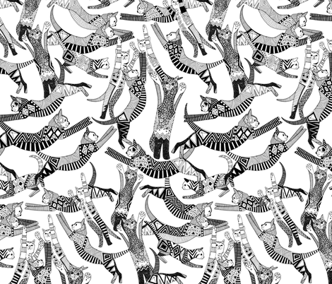 cat party black white fabric by scrummy on Spoonflower - custom fabric