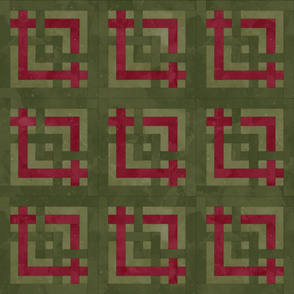 Fill A Yard Carpenters Square Quilt Block 6in Olive Maroon