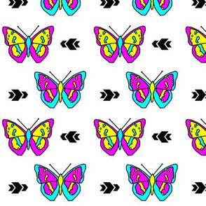 Butterfly >> Geometric Mod Baby Kids Girl Nursery Illustration >> Bold Colors