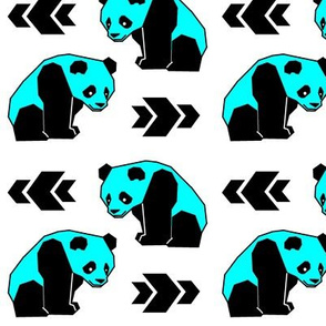 Cyan Panda with Arrows