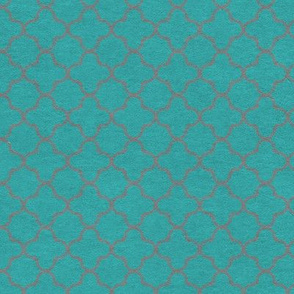 Teal and Gray Quartrefoil