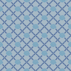 rose lattice window - china blue