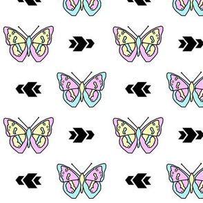 Butterfly >> Geometric Mod Baby Kids Girl Nursery Illustration >> Pastel and White