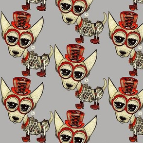Steampunk Chihuahua gray, small scale, grey beige tan red
