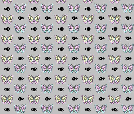 Butterfly >> Geometric Mod Baby Kids Girl Nursery Illustration >> Pastel and Grey fabric by peek_a_boo_panda on Spoonflower - custom fabric