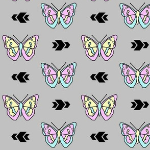 Butterfly >> Geometric Mod Baby Kids Girl Nursery Illustration >> Pastel and Grey