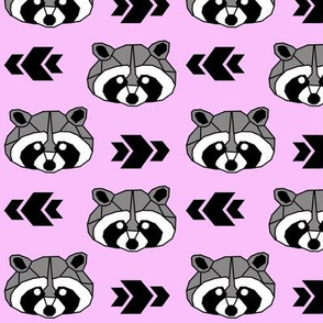 Raccoon >> Woodland Geometric Kids Baby Nursery Illustration >> Black, Grey, and Pink