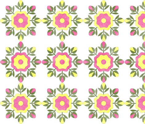 Fill A Yard Rose Bud Wreath Quilt Blocks 6in Pink Yellow Green fabric by wickedrefined on Spoonflower - custom fabric