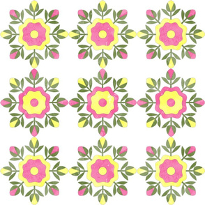 Fill A Yard Rose Bud Wreath Quilt Blocks 6in Pink Yellow Green