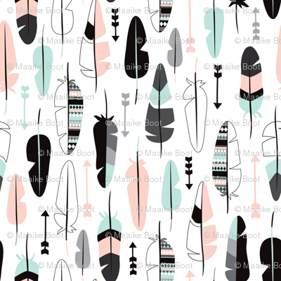 Geometric vintage feathers pastel arrows in mint and coral illustration pattern SMALL