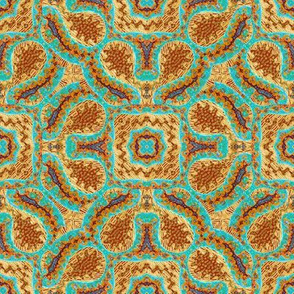 Terra Cotta and Turquoise Loops and Lines