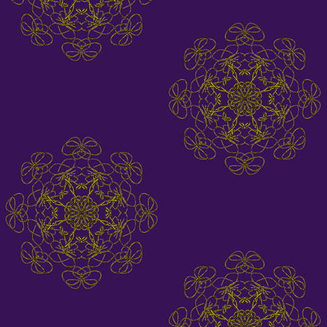Lacy Floral Rosettes - Gold on Aubergine (Large Scale) fabric by rhondadesigns on Spoonflower - custom fabric