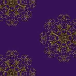 Lacy Floral Rosettes - Gold on Aubergine (Large Scale)