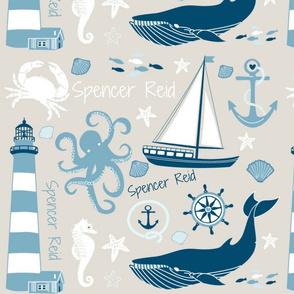 "Custom Nautical Name Fabric ""Spencer Reid"""