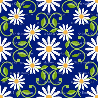 Daisy Square- blue- small