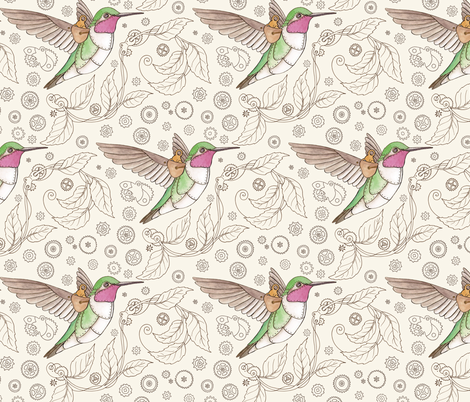 Steampunk Hummingbird fabric by hazel_fisher_creations on Spoonflower - custom fabric