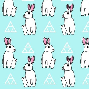 Bunny Rabbit >> Spring Easter Baby Kids Geometric Illustration Woodland >> Turquoise and White Pastel