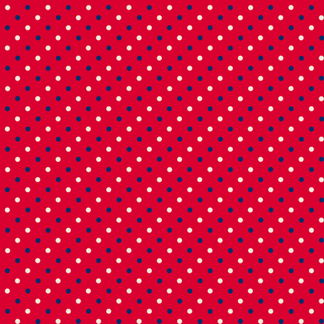 Red with Navy and Cream Dots fabric by littlelionworkshop on Spoonflower - custom fabric