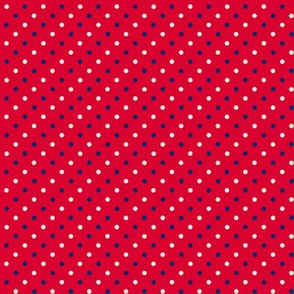 Red with Navy and Cream Dots