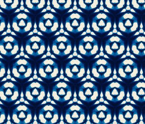 Indigo dyed hexagons fabric by lfntextiles on Spoonflower - custom fabric