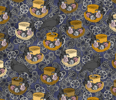 Gold Steampunk Top Hats & Ravens fabric by pond_ripple on Spoonflower - custom fabric