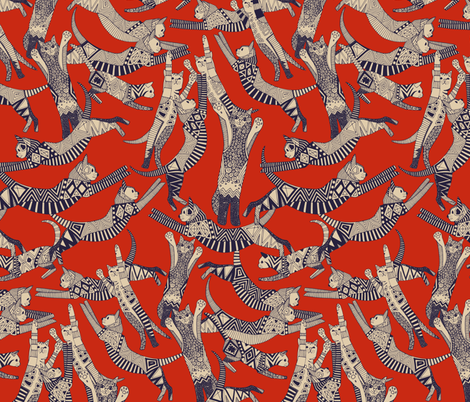 cat party retro fabric by scrummy on Spoonflower - custom fabric