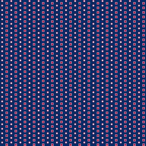 Navy Red and Cream Squares and Circles