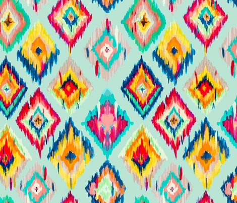 Hand Painted Ikat Aqua Wallpaper Gypseeart Spoonflower