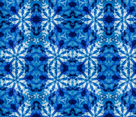 Indigo Kaleidoscope BRight fabric by ciswee on Spoonflower - custom fabric