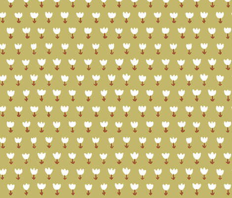 Field of Tulips Natural fabric by mayabeeillustrations on Spoonflower - custom fabric