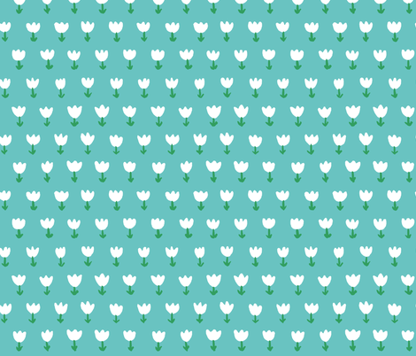 Field of Tulips Blue fabric by mayabeeillustrations on Spoonflower - custom fabric