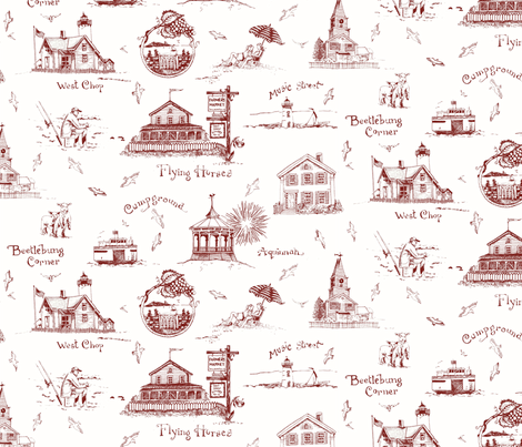 Martha's Vineyard Toile fabric by susanbranch on Spoonflower - custom fabric