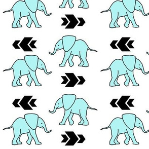 Light Blue Elephants with Arrows