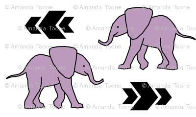 Elephant >> Baby Nursery Kids Geometric Illustration Design >> Purple and Black