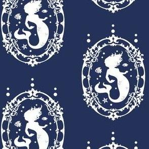 Mermaid Inverted on Blue