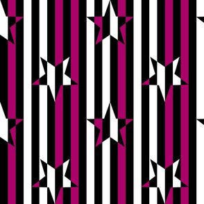 Stars and Stripes Black Fuchsia White