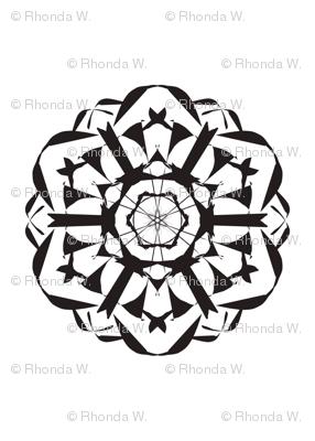 Geometric Spin-Off -  Black on White