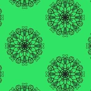 Rings of Flowering Hearts on Gemstone Green