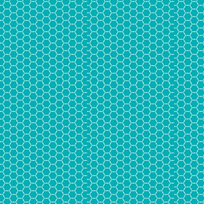 Teal and white beehive design