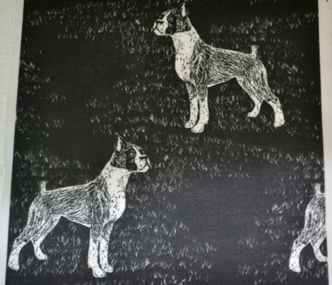 Black and White Scratchboard Boxer