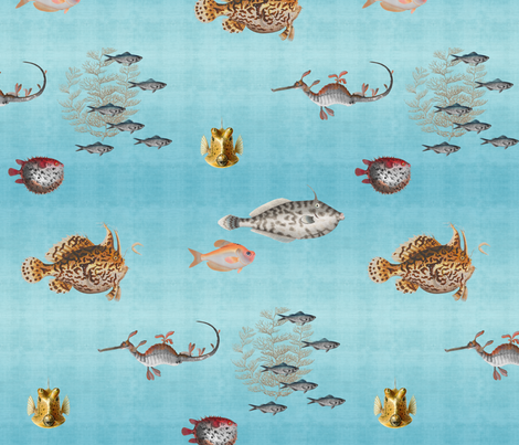 Curious Fish, Half Scale fabric by willowlanetextiles on Spoonflower - custom fabric